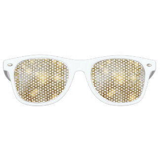 Bright sparkling golden sequin glitters disco ball retro sunglasses