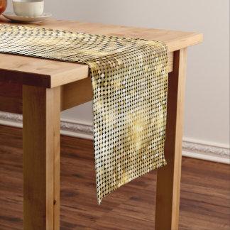 Bright sparkling golden sequin glitters disco ball short table runner
