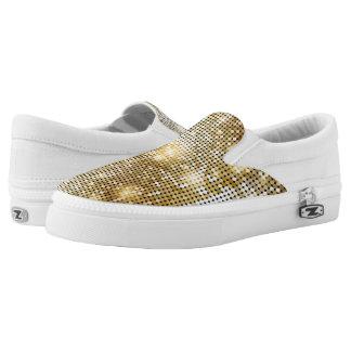 Bright sparkling golden sequin glitters disco ball Slip-On sneakers