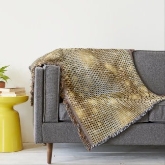 Bright sparkling golden sequin glitters disco ball throw blanket