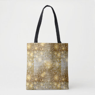 Bright sparkling golden sequin glitters disco ball tote bag