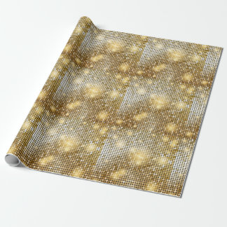 Bright sparkling golden sequin glitters disco ball wrapping paper