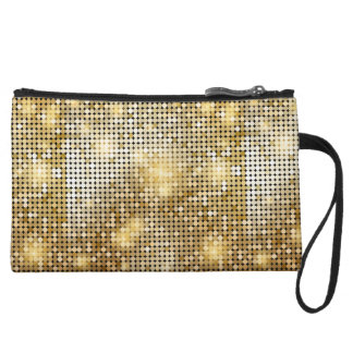 Bright sparkling golden sequin glitters disco ball wristlet