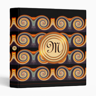 Bright Spiral Pattern Monogram 1 inch Binder