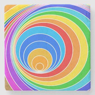 Bright Spiral Vortex Abstract Stone Coaster