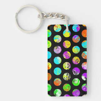 Bright Spots On Black Pattern Double-Sided Rectangular Acrylic Keychain