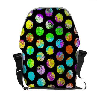 Bright Spots On Black Pattern Messenger Bags