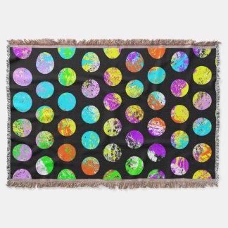 Bright Spots On Black Pattern Throw Blanket