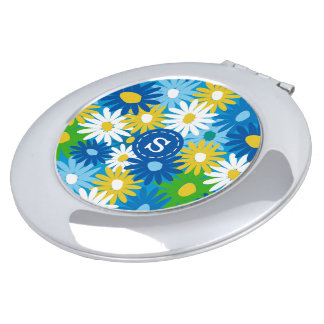 Bright spring daisies monogram name compact mirror