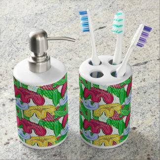 Bright spring doodle flowers soap dispenser and toothbrush holder