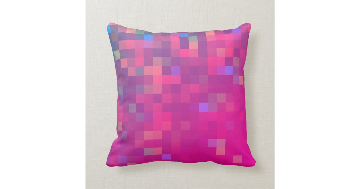Square Throw Pillow Pattern : Bright Square Geometric Pattern Throw Pillow Zazzle