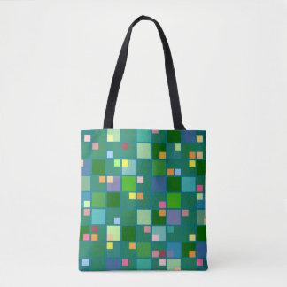 Bright squares on teal green background tote bag
