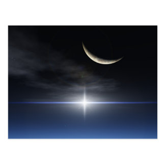 Bright star over a reflective snow covered cloud postcard