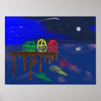 Bright starry night poster