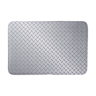 Bright Steel Diamond Plate Look Bath Mat