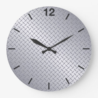 Bright Steel Diamondplate Pattern Large Clock