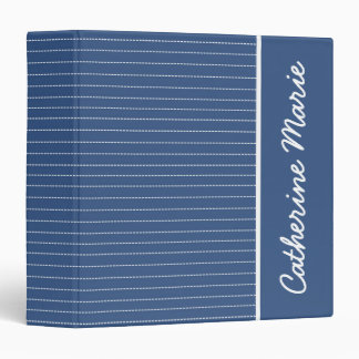 Bright Stitches on Blue Personalized 3 Ring Binders
