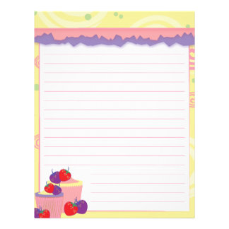 Bright Strawberries And Cupcakes Art Letterhead
