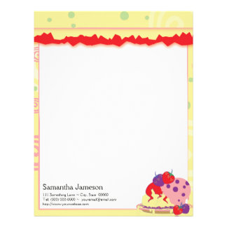 Bright Strawberries And Ice Cream Art Letterhead