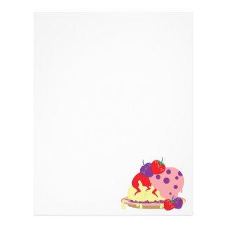 Bright Strawberries And Ice Cream Art Letterhead Design