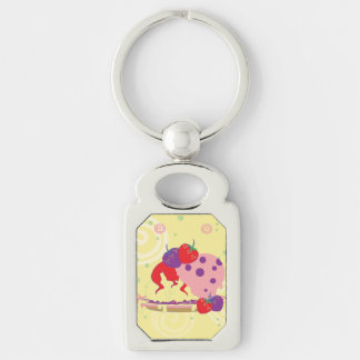 Bright Strawberries And Ice Cream Art Silver-Colored Rectangle Keychain