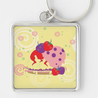 Bright Strawberries And Ice Cream Art Silver-Colored Square Keychain