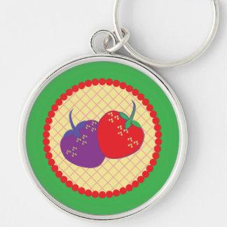 Bright Strawberry Cream Pie Art Silver-Colored Round Keychain