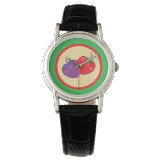 Bright Strawberry Cream Pie Art Wristwatches