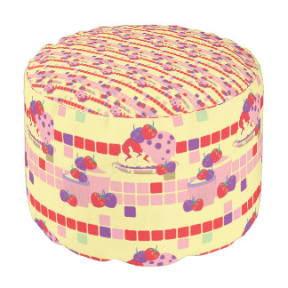 Bright Strawberry Sweet Treats Pattern Pouf