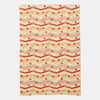 Bright Strawberry Swirl Chevron Pattern Towels