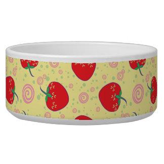 Bright Strawberry Swirl Pattern Dog Bowls