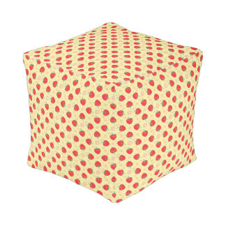 Bright Strawberry Swirl Pattern Pouf