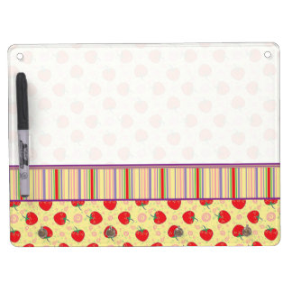 Bright Strawberry Swirl Pattern With Border Dry Erase Board