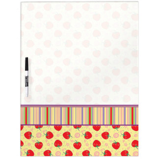 Bright Strawberry Swirl Pattern With Border Dry-Erase Whiteboards