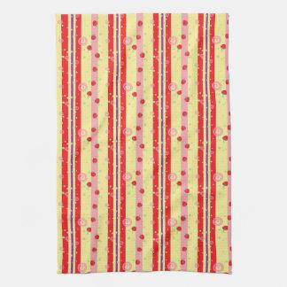 Bright Strawberry Swirl Stripes Pattern Kitchen Towel