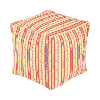 Bright Strawberry Swirl Stripes Pattern Pouf