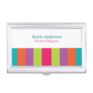 Bright Stripes Business Card Holders