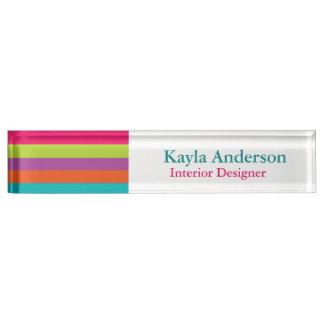 Bright Stripes Desk Nameplate