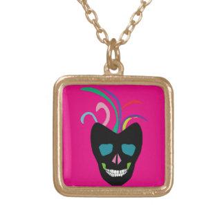 Bright Sugar Skull Gold Plated Necklace