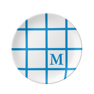 Bright Summer Blue Lattice Stripes Monogram Plate