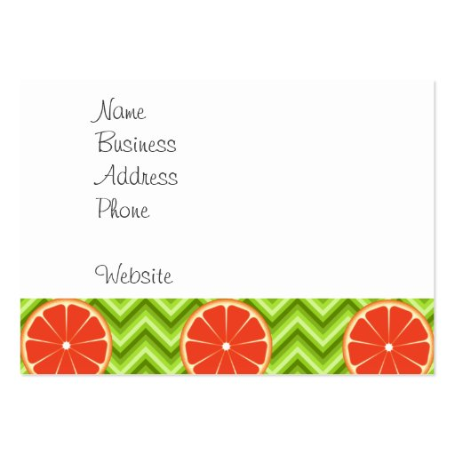 Bright Summer Citrus Grapefruits on Green Chevron Business Cards