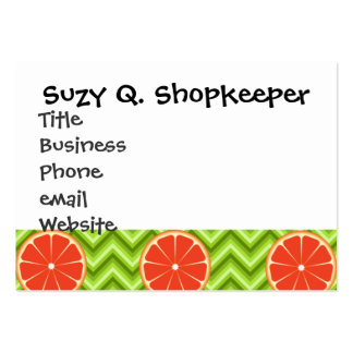 Bright Summer Citrus Grapefruits on Green Chevron Large Business Cards (Pack Of 100)