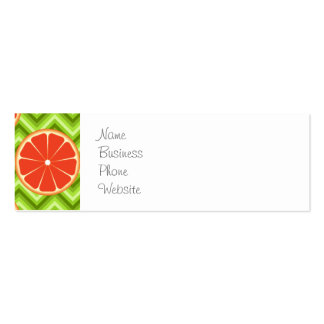 Bright Summer Citrus Grapefruits on Green Chevron Double-Sided Mini Business Cards (Pack Of 20)