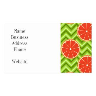 Bright Summer Citrus Grapefruits on Green Chevron Business Cards