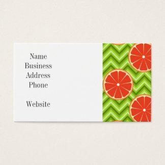 Bright Summer Citrus Grapefruits on Green Chevron Business Card