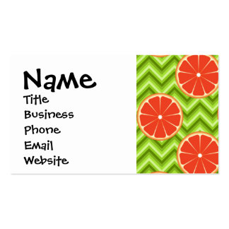 Bright Summer Citrus Grapefruits on Green Chevron Double-Sided Standard Business Cards (Pack Of 100)