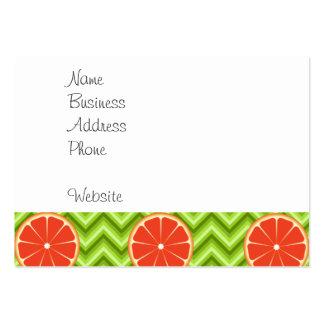 Bright Summer Citrus Grapefruits on Green Chevron Large Business Card
