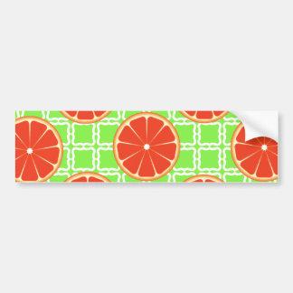Bright Summer Citrus Grapefruits on Green Squares Bumper Sticker