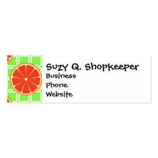 Bright Summer Citrus Grapefruits on Green Squares Double-Sided Mini Business Cards (Pack Of 20)