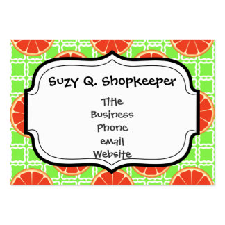 Bright Summer Citrus Grapefruits on Green Squares Pack Of Chubby Business Cards
